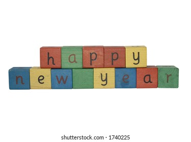 building blocks spelling HAPPY NEW YEAR with clipping path in jpeg