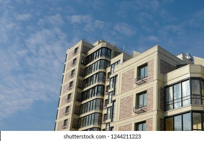 Building blue sky.Angle facade.