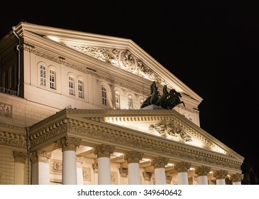 building of Bolshoi Theatre (Big Theater) in Moscow in night