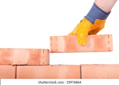 Building brick wall on a white background
