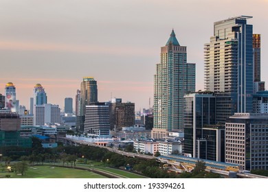 Building Business District on the park (Bangkok, Thailand)