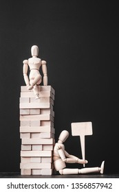 Building career. Leadership competition. Success and failure. Unemployment. Conceptual articulated man composition