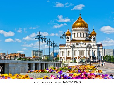 Building of the Cathedral of Christ the Saviour in sunny summer day. Moscow. Russia