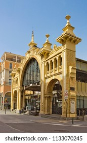 Building of Central Market built in 1895 in Zaragoza, Aragon, Spain. It is indexed in the Spanish heritage register of cultural monuments