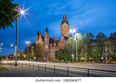 The building of city administration Neues Rathaus of Leipzig town in Germany