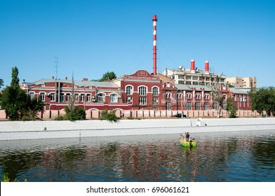 The building of the City electric station on the Red embankment, Astrakhan, Russian Federation