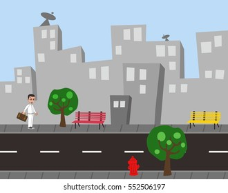 building city view cartoon