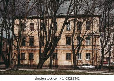 Нistorical building in the city of Vyborg. Cloudy day in April 2018.