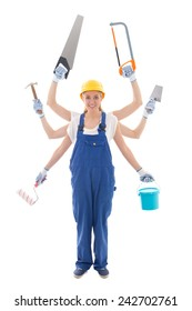 building concept - woman in builder uniform with 6 hands holding tools isolated on white background