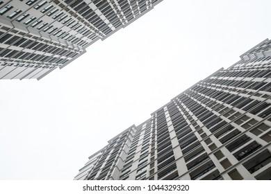Building condominium uprisen angle view