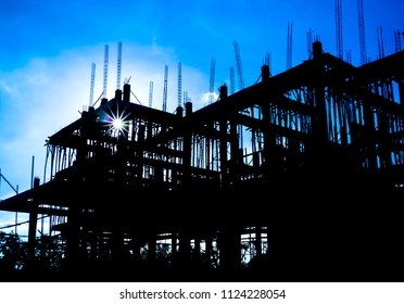 Building Construction and blue sky background.