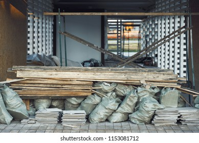 Building construction, boards, tiles, bags