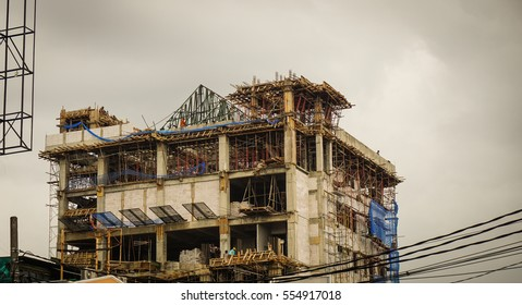 building construction with cloudy sky as background photo taken in jakarta Indonesia