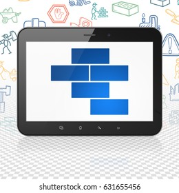 Building construction concept: Tablet Computer with  blue Bricks icon on display,  Hand Drawn Construction Icons background, 3D rendering