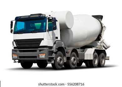 Building and construction industry, shipping transportation, roadworks and cargo freight transport industrial business commercial concept: heavy concrete cement mixer truck vehicle isolated on white