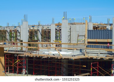building construction site industry concrete beam structure