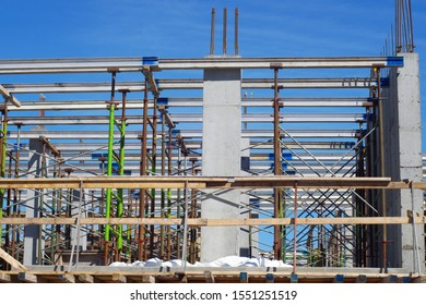 building construction site industry metal beam structure