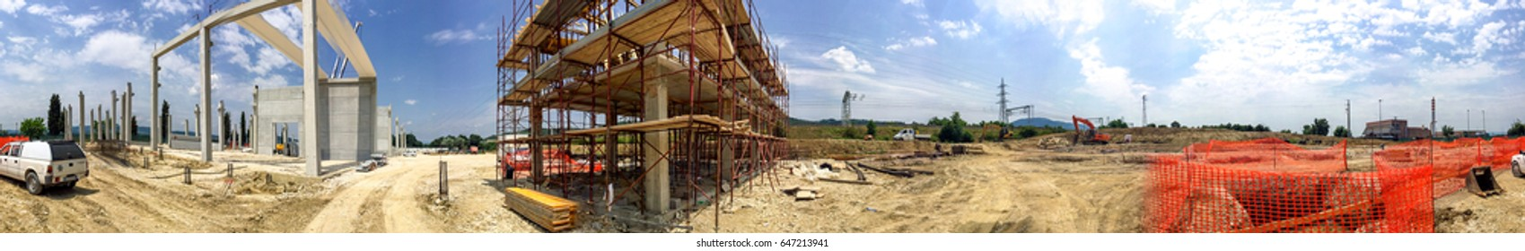 Building construction site, panoramic view.