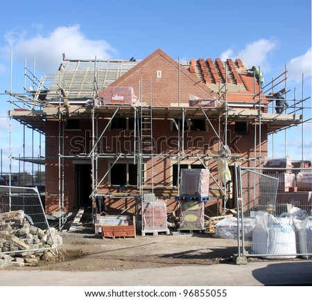 Building construction site progress new house stock photo for Building site house