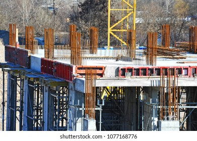 Building construction site work with formwork and reinforsment