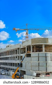 Building Construction Work by builder using crane and JCB Digger at site