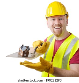 Building contractor presenting your new home isolated on a white background