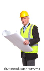 Building contractor wearing safety clothing holding some blueprints, isolated on a white background.