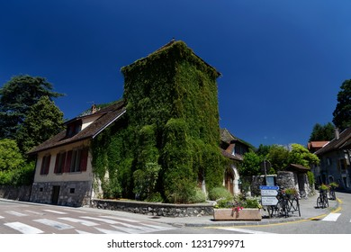 Building covered in ivy Menthon  Saint  Bernard Lake Annecy France