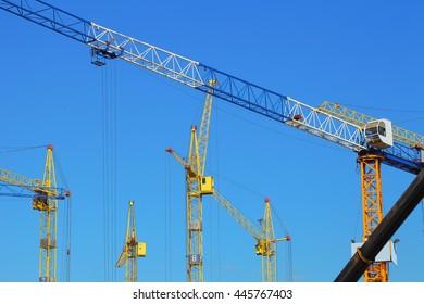 Building crane on the construction site.