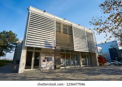 Building of Croatian Home Vukovar, photo taken in November 24, 2017. in city Vukovar in Croatia.