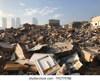 Building destruction debris and broken brick in damage city, demolish construction building