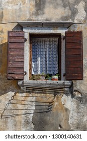 Building detail in the old Vrsar town in Istria, Croatia