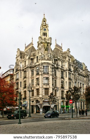 Building in downtown of Oporto, Portugal
