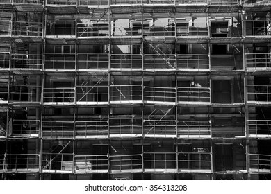 Building during construction. Black and white