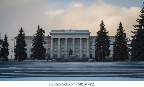 The building of Eastern European National University in Lutsk, Ukraine in a cloudy weather
