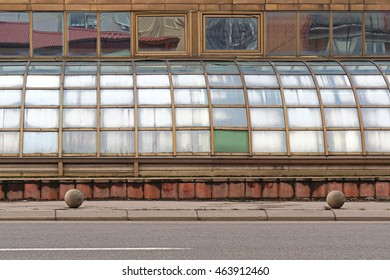 Building exterior with curved windows