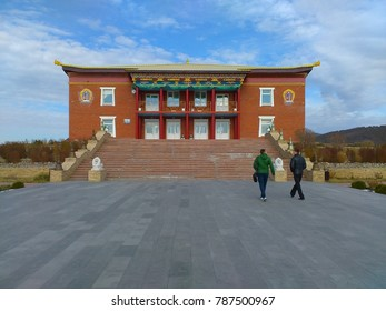A building exterior of Datsan Rinpoche Bagsha buddhist monastery on the top of Lysaja Gora hill in Ulan-Ude, Russia