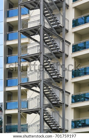 Building Exterior Fire Escape Stairs For Emergency