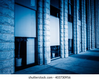 building exterior,blue toned image.