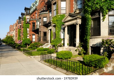 Building exteriors in residential district of Back Bay, Boston