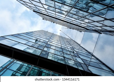 Building facade with blue sky . Amazing perspective.