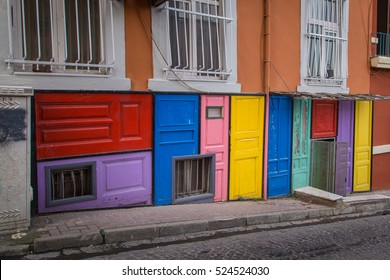Building facade decorated with colorful doors in Balat district in Istanbul