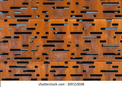 Building facade made of perforated weathering steel sheets (corten steel)