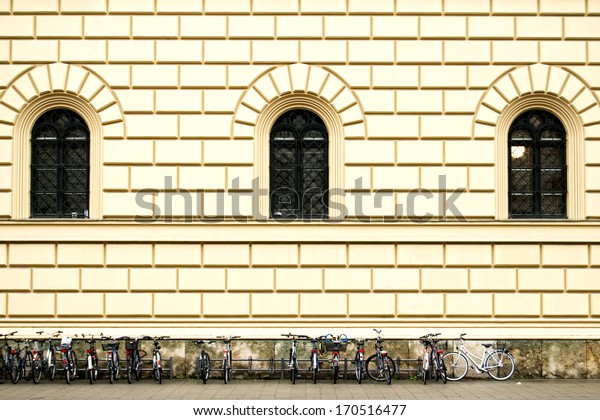Building Facade, Munich, Bicycle Racks