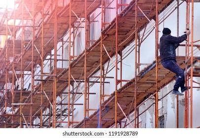 Building facade restoration background