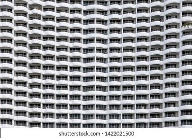 Building facade seamless, Rows of hotel many balcony with curved shape design