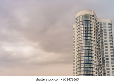 Building facade in sunset light. Vivid splittoned image
