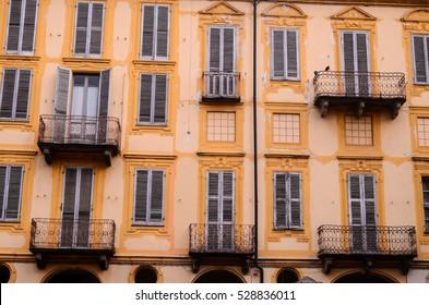 Building Facade with Windows in North Italy