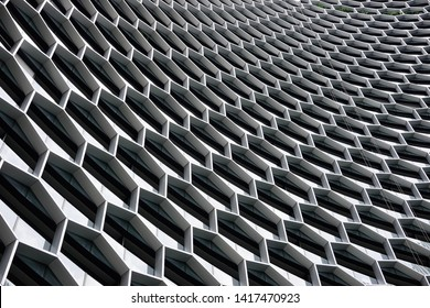 Building facades. Hexagons pattern. Architecture view.