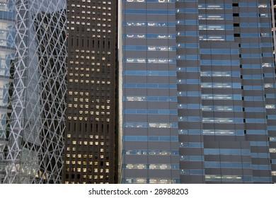 Building facades in Shinjuku, Tokyo